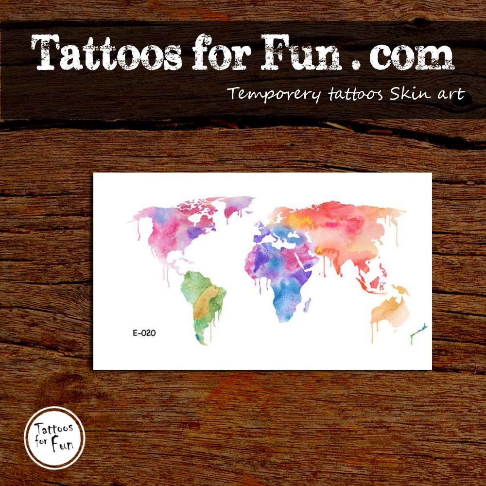 World map temporary tattoo tattoos for fun tattoosworld map temporary tattoo sale previous gumiabroncs Gallery