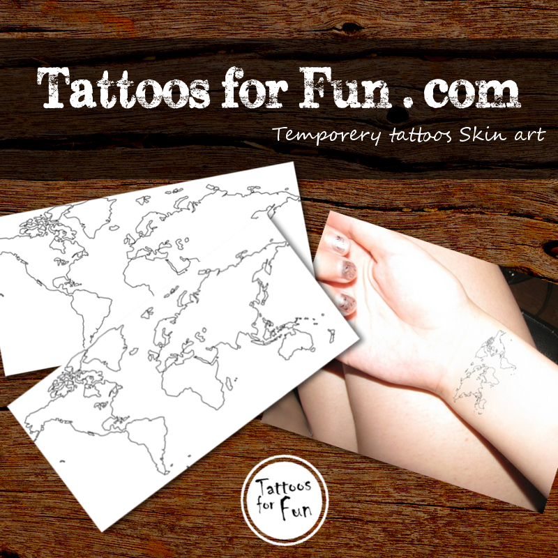 World map temporary tattoo tattoos for fun world map temporary tattoo gumiabroncs Image collections