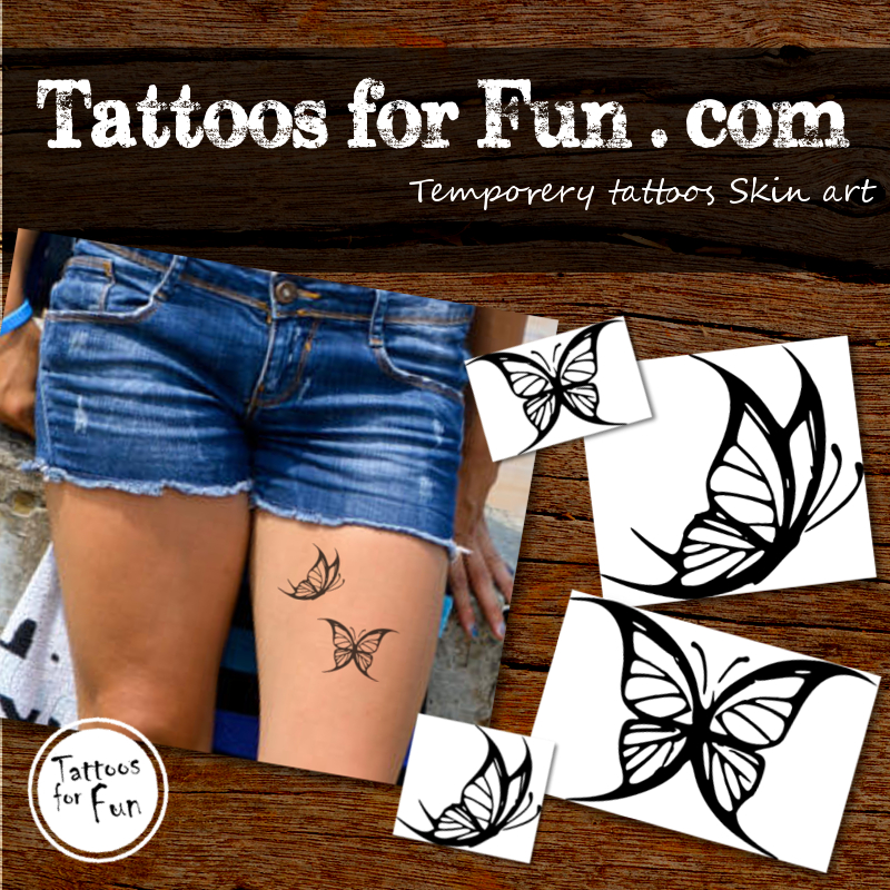 Black white butterfly temporary tattoo tattoos for fun for White temporary tattoos