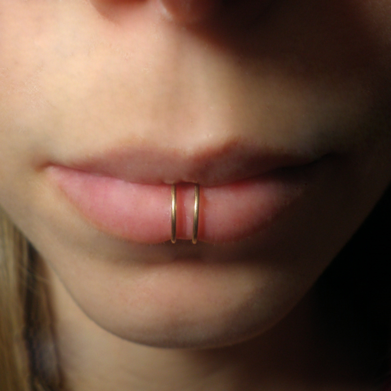 Brass Gold Double Rings Fake Lip Piercing Tattoos For Fun
