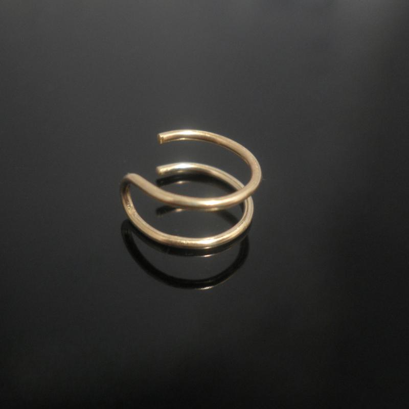 Silver Double Nose Ring Lip Ring Fake Piercing Fake Hoops
