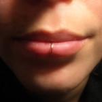 gold fake lip piercing