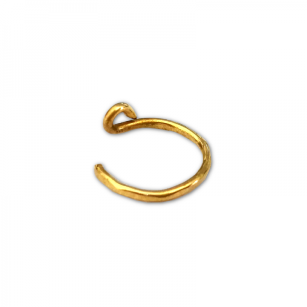 gold filled hammered 2 nose ring1