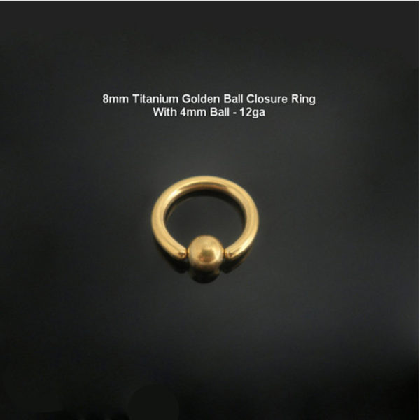 8mm Titanium Golden Ball Closure Ring