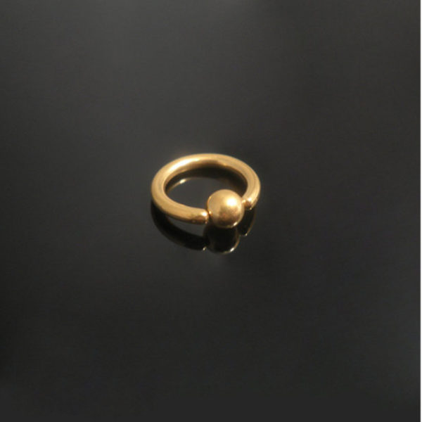 8mm Titanium Golden Ball Closure Ring-1