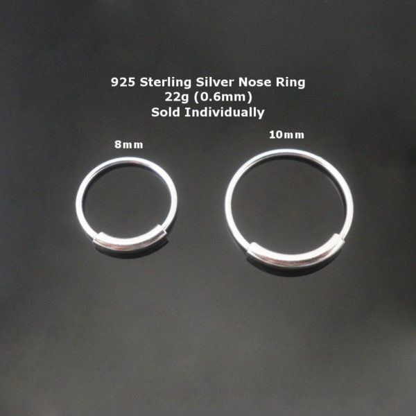925 Sterling silver Nose Ring With Pipe Piercing