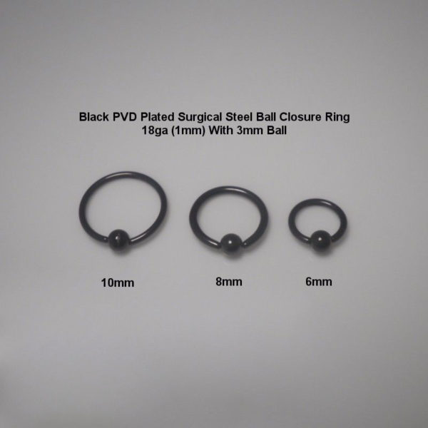 Black PVD Plated Surgical Steel Ball Closure Ring With 3mm