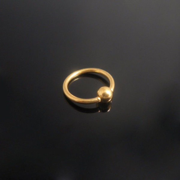 Gold PVD Plated Surgical Steel Ball Closure Ring-1