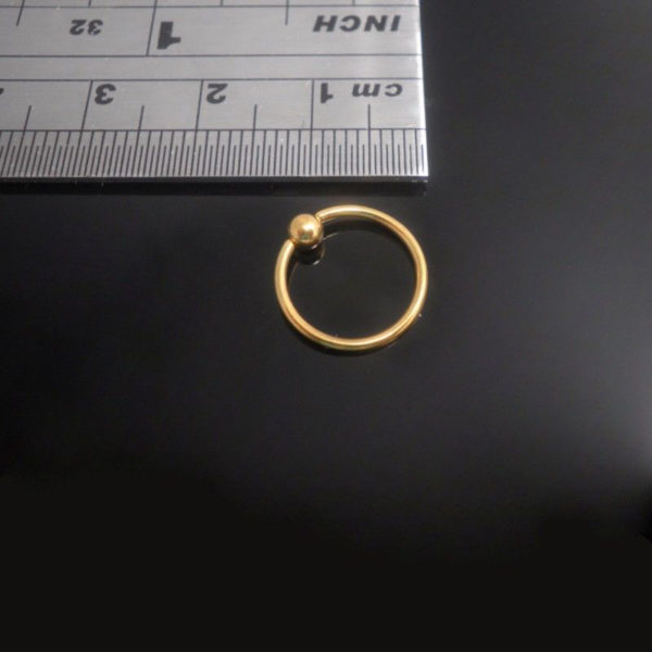 Gold PVD Plated Surgical Steel Ball Closure Ring 10mm