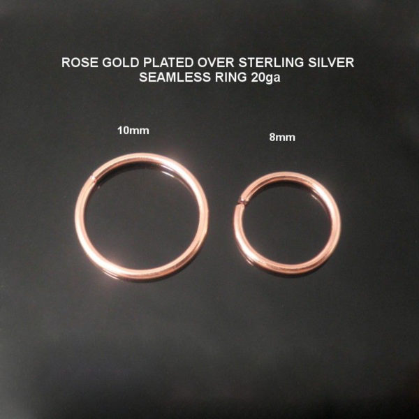 Rose Gold Plated Over 925 Sterling silver Nose Hoop