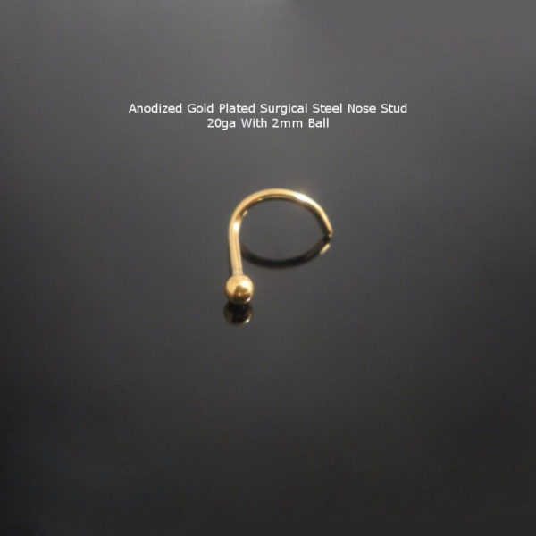 Surgical Steel Gold Nose Stud Screw