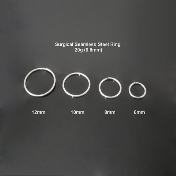 Surgical Steel Rings Hoop Body Piercing Jewellery - 20 ga