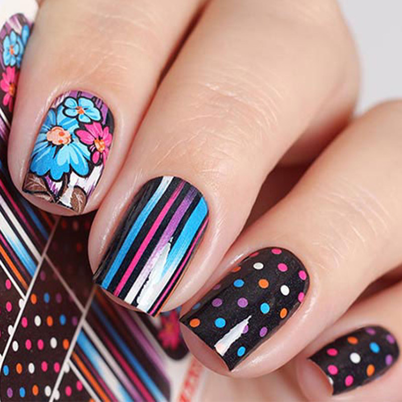 Colorful flower water transfer nail tattoos tattoos for fun for Diy tattoo transfer paper