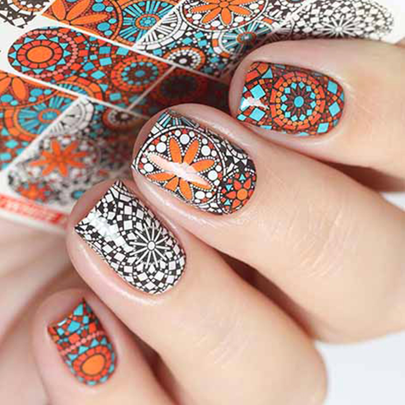 Wuf 1 Sheet Russian Retro Colorful Artistical Printing Designs Full Wraps Nail Art Sticker Water