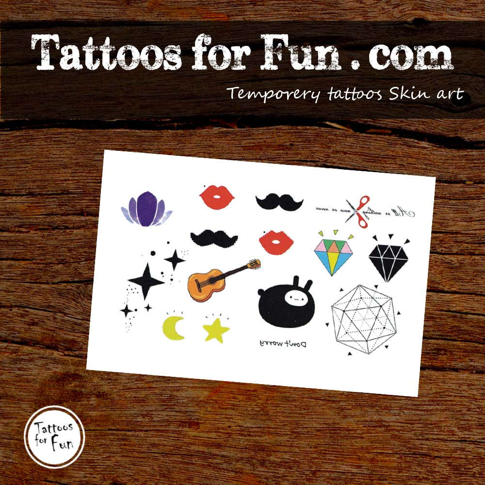 Hipster Cartoon Temporary Tattoo - Tattoos For Fun