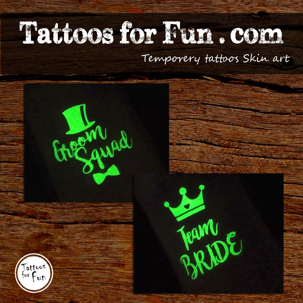 Glow In The Dark Team Bride And Team Groom Temporary Tattoos